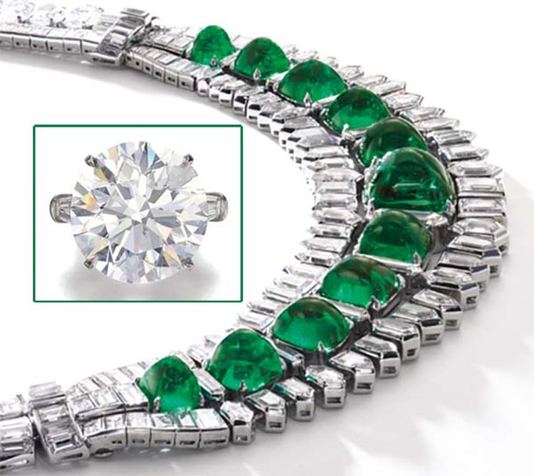 b26ba446699 Socialite's Emerald Necklace, 36-Carat Diamond Share Spotlight at Sotheby's  Geneva